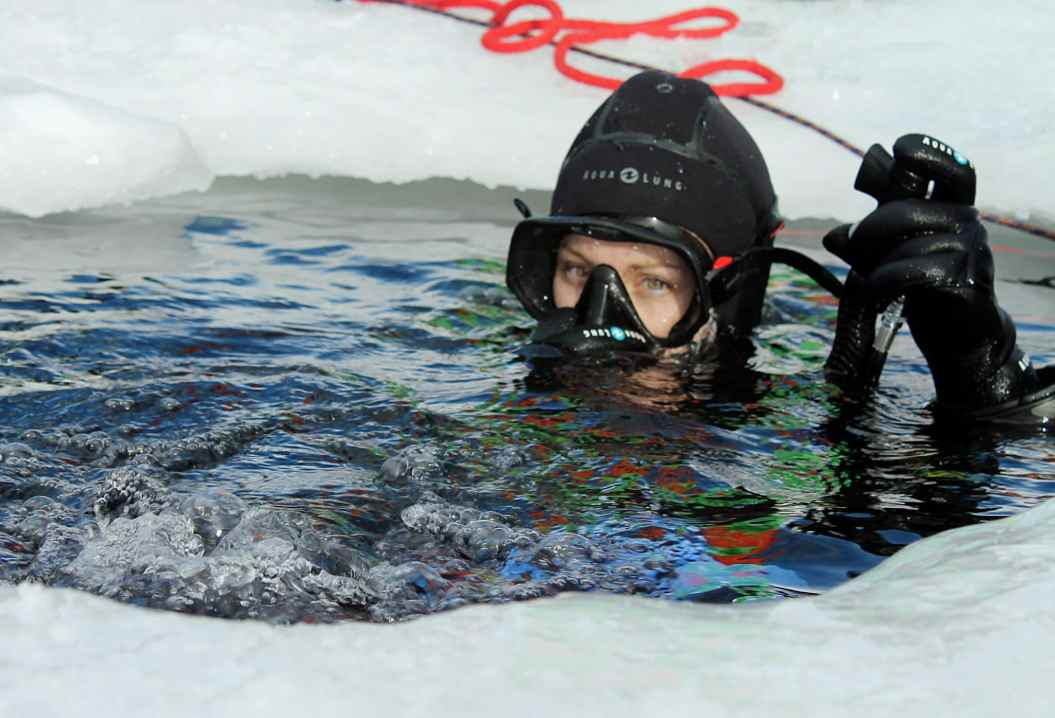 Ice diving in the French Alps